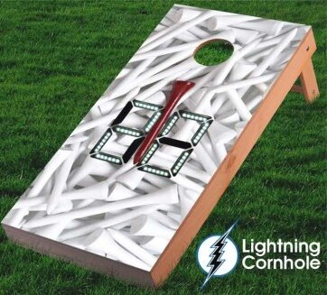 Electronic Scoring Golf Tees Cornhole Board by Lightning Cornhole