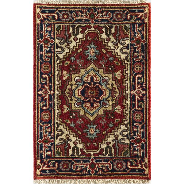 Oriole Hand-Knotted Wool Red/Beige Area Rug by World Menagerie