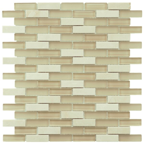 Sierra 0.58 x 1.88 Glass and Natural Stone Mosaic Tile in Sandstone by EliteTile