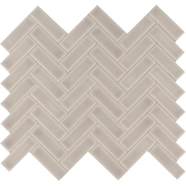 Portico Herringbone 1 x 3 Ceramic Mosaic Tile in Pearl/Beige by MSI