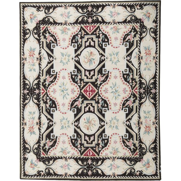 Oriental Hand-Knotted 7.11' x 10.2' Wool Ivory/Black Area Rug