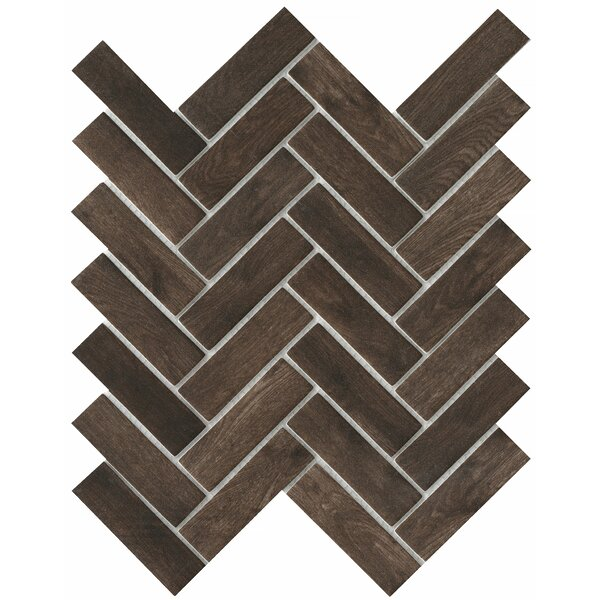 Echo Herringbone 1 x 2 Glass Mosaic Tile in Brown by Emser Tile