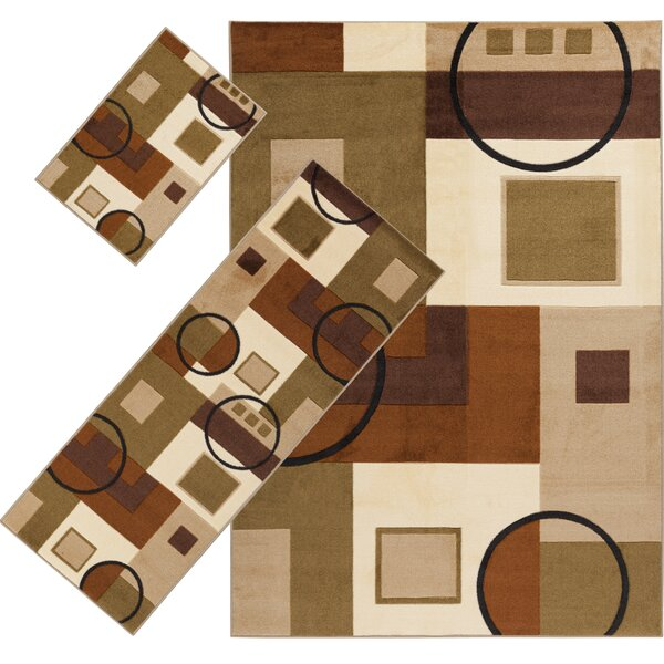 Audrey Brown/Moss 3 Piece Indoor/Outdoor Area Rug Set by Threadbind
