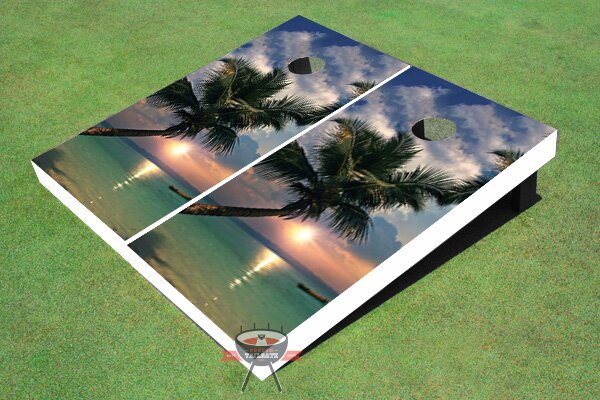 Sunset Palm Tree Cornhole Board (Set of 2) by All American Tailgate