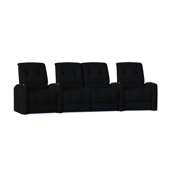 Large Blue LED Home Theater Curved Row Seating (Row of 4) by Latitude Run Latitude Run