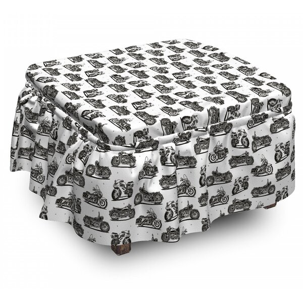 Motorcycle Retro Drawings 2 Piece Box Cushion Ottoman Slipcover Set By East Urban Home