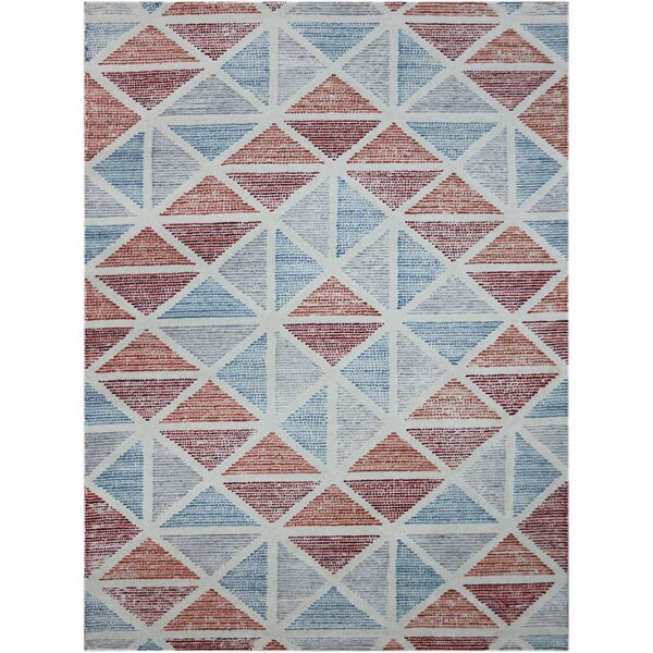 Callista Hand-Tufted Orange/Blue Area Rug by Beachcrest Home