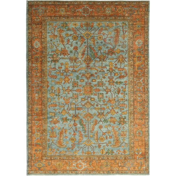 One-of-a-Kind Dexter Hand-Knotted Wool Blue/Brown Indoor Area Rug by Isabelline