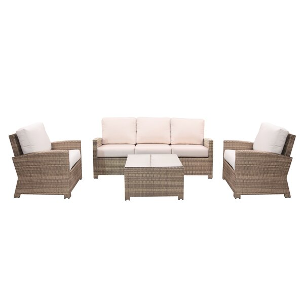 Norfolk 4 Piece Sunbrella Sofa Seating Group with Cushions by Rosecliff Heights