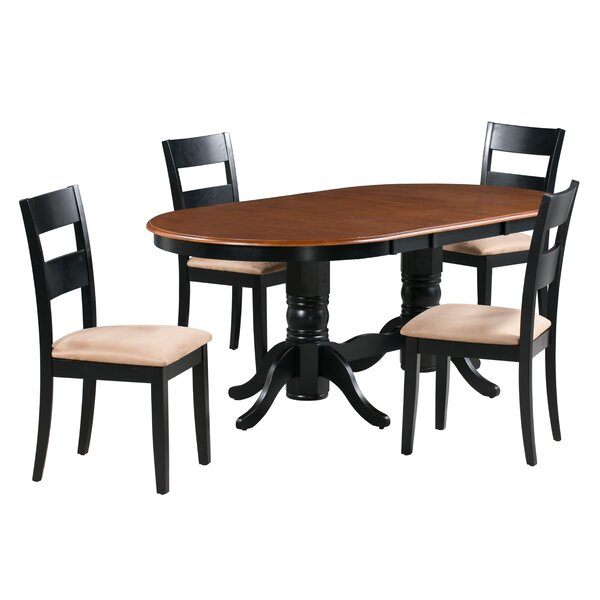 Jaiden 5 Piece Extendable Solid Wood Dining Set by Alcott Hill
