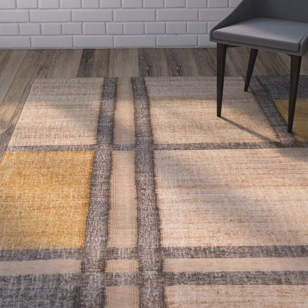 Vasta Modern Hand-Woven Khaki Area Rug by Wrought Studio