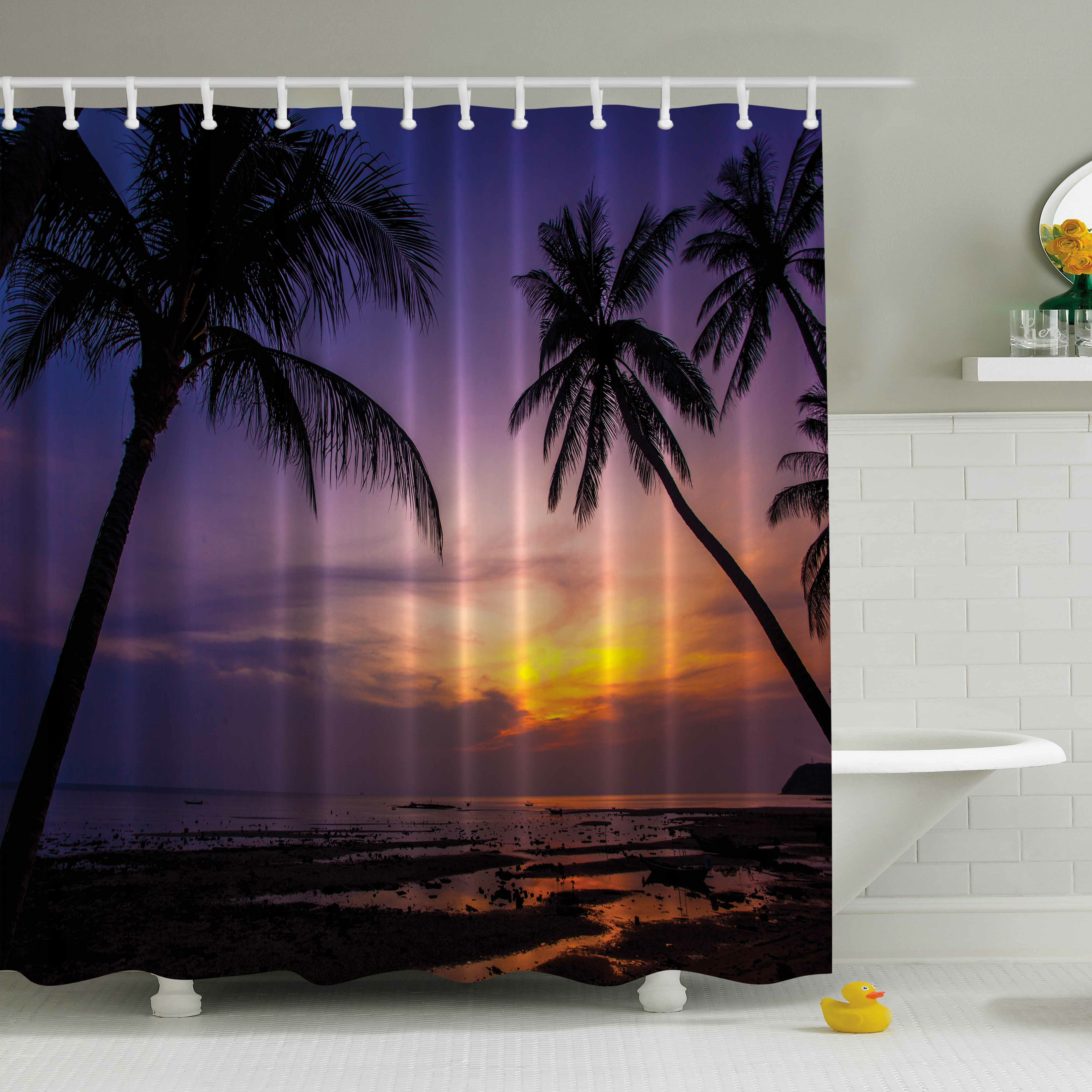 Landscape Shower Curtain Open Window to River Print for Bathroom