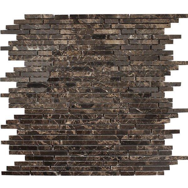 Emperador Random Strips Random Sized Stone Mosaic Tile in Polished Polished by Parvatile