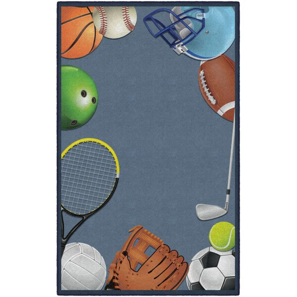 Camellia Sports Play Ball Blue Area Rug by Zoomie Kids