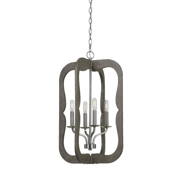 Eccleshall 4 - Light Candle Style Rectangle / Square Chandelier with Wood Accents by Charlton Home Charlton Home