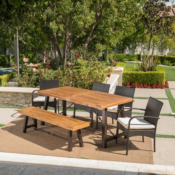 Poitras Outdoor 6 Piece Dining Set with Cushions by 17 Stories