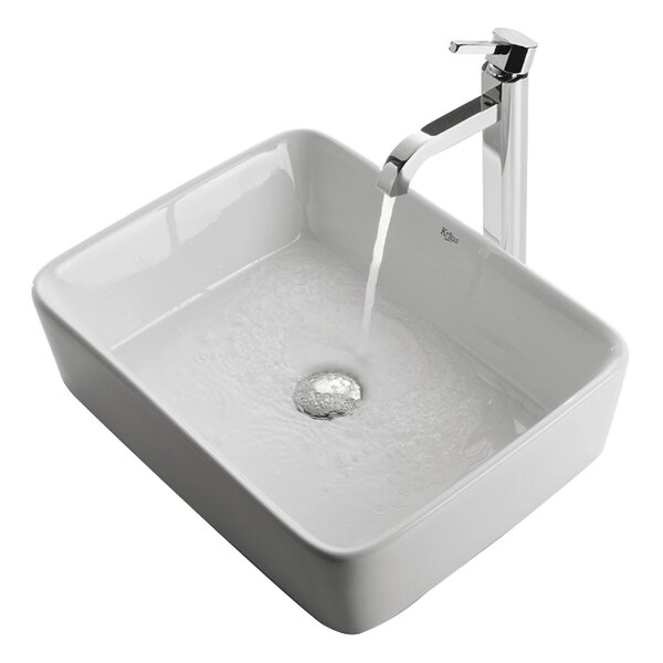 Ceramic Rectangular Vessel Bathroom Sink With Faucet By Kraus.