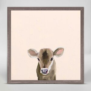 Baby Brown Cow by Cathy Walters Mini Canvas Framed Art by Oopsy Daisy