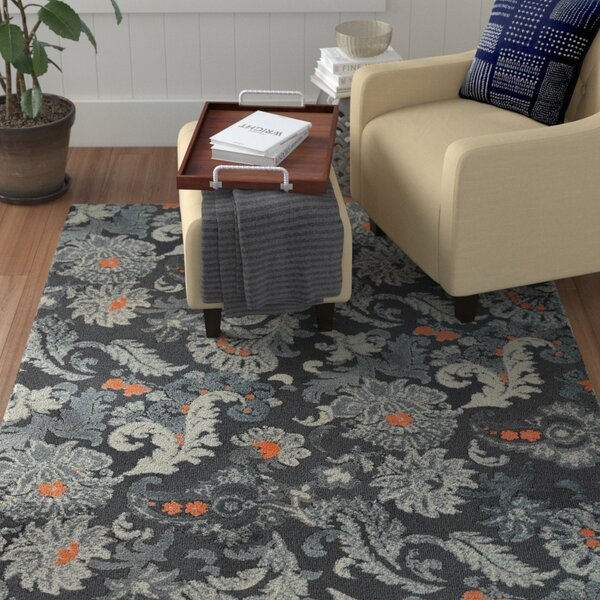 Hanshaw Flannel Floral Gray Area Rug by Winston Porter