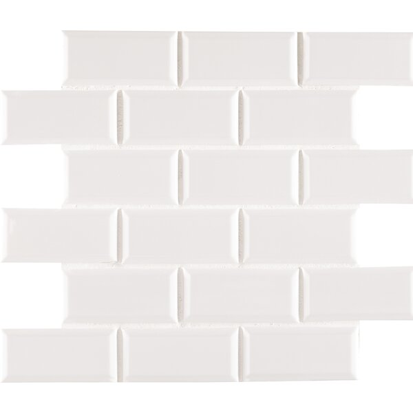Staggered Beveled 2 x 4 Porcelain Subway Tile in White by MSI