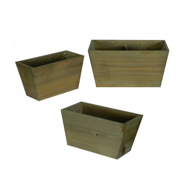 Flower 3-Piece Wood Pot Planter Set (Set of 3) by Entrada