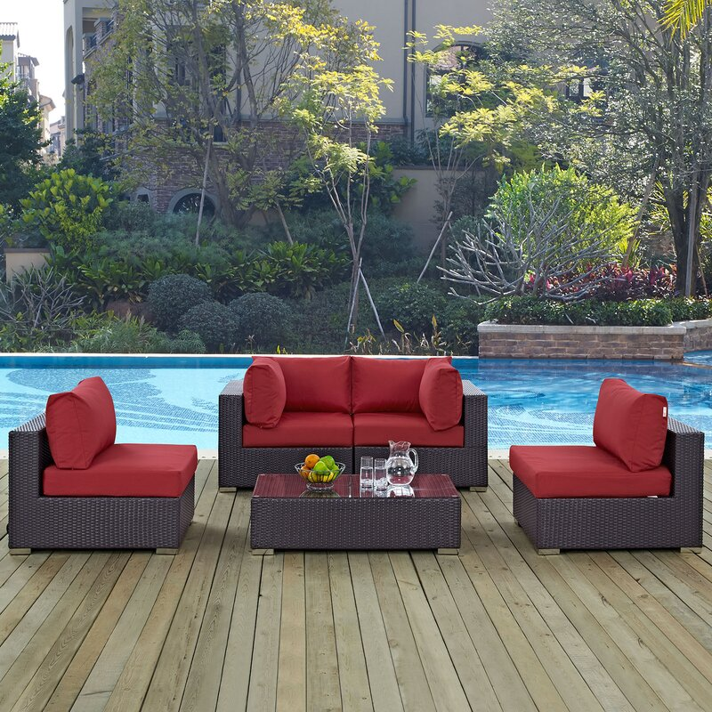 Ryele 5 Piece Rattan Sectional Set With Cushions By