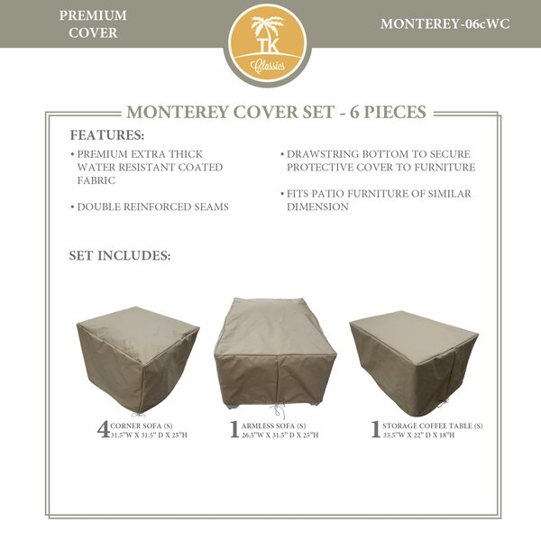 Monterey Protective 6 Piece Water Resistant Patio Furniture Cover Set by TK Classics