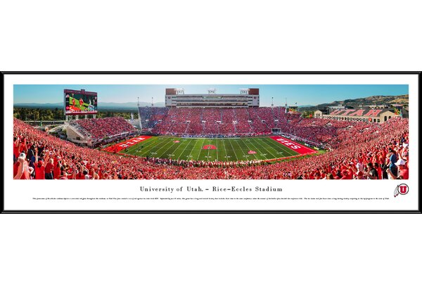 NCAA Utah Red Out Football 50 Yard Line Framed Photographic Print by Blakeway Worldwide Panoramas, Inc
