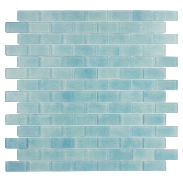 Quartz 0.75 x 1.63 Glass Mosaic Tile in Light Blue by Kellani