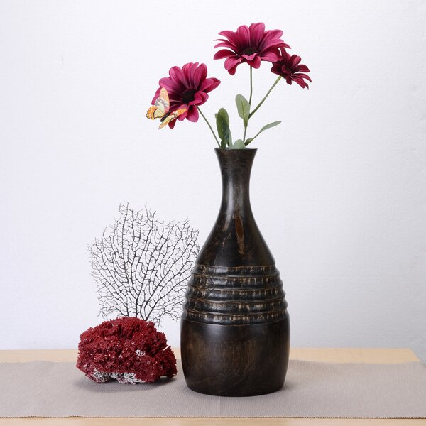 Kumail Tall Bottle Mango Wood Table Vase by World Menagerie