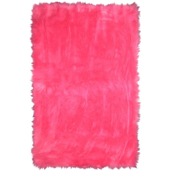 Flokati Hot Pink Area Rug by L.A. Rugs