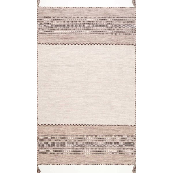 Aleshire Hand Woven Cotton Light Beige Area Rug by Foundry Select