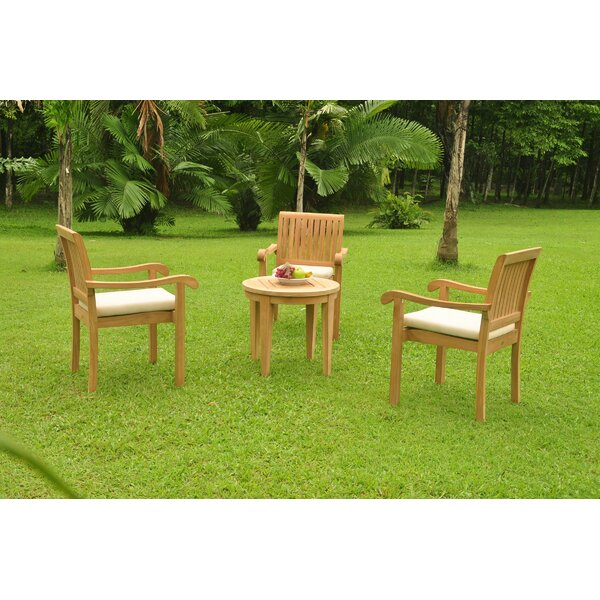 Ellert 4 Piece Teak Dining Set by Rosecliff Heights