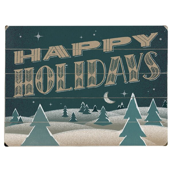 Happy Holidays Graphic Art Print Multi-Piece Image on Wood by Artehouse LLC