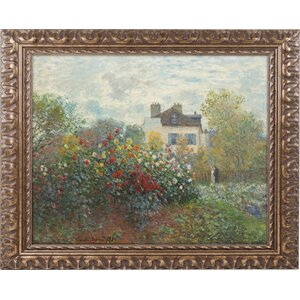 'The Artist's Garden' by Claude Monet Framed Painting Print by Trademark Fine Art