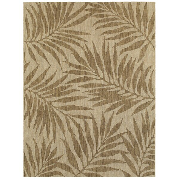 Samuels Palm Leaves Beige Indoor/Outdoor Area Rug by Bay Isle Home