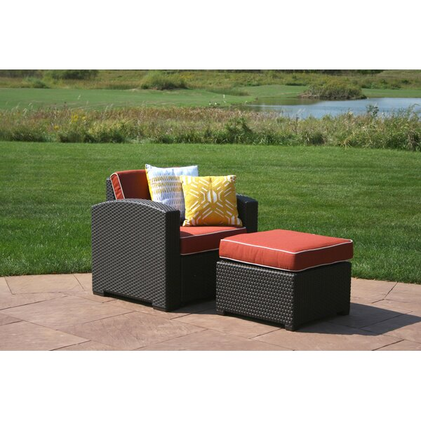 Loggins Patio Chair with Cushion and Ottoman by Brayden Studio