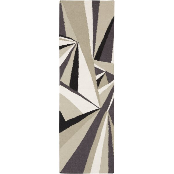 Voyages Light Gray Geometric Area Rug by Malene b