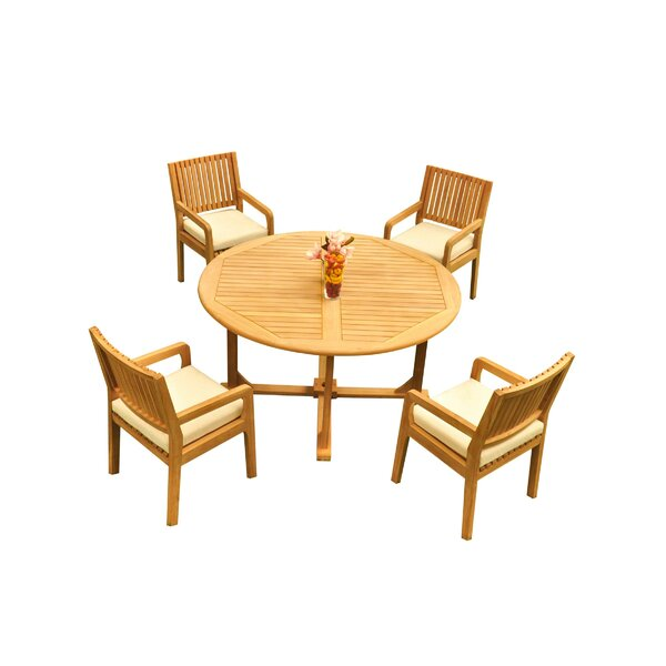 Mastin 5 Piece Teak Dining Set by Rosecliff Heights