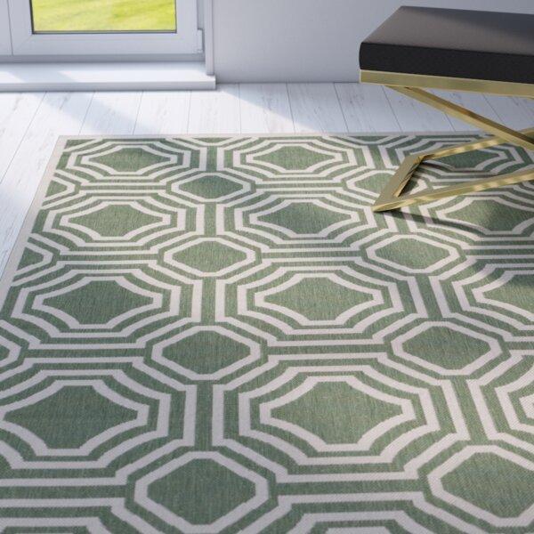 Olsene Green/Beige Indoor/Outdoor Area Rug by Mercer41