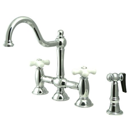 Double Handle Widespread Bridge Faucet with Porcelain Cross Handles by Elements of Design