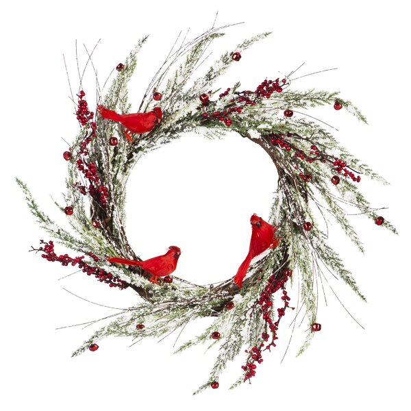 24 Cardinal on Snow Covered Branches Wreath by The Holiday Aisle