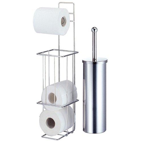 Toilet Brush and Toilet Roll Holder Set Wayfair Basics™ Chrome