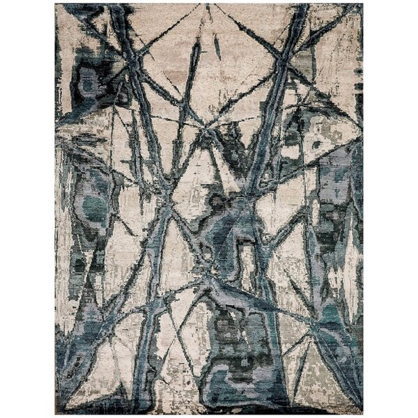Abstract Hand-Knotted Ivory / Green Area Rug