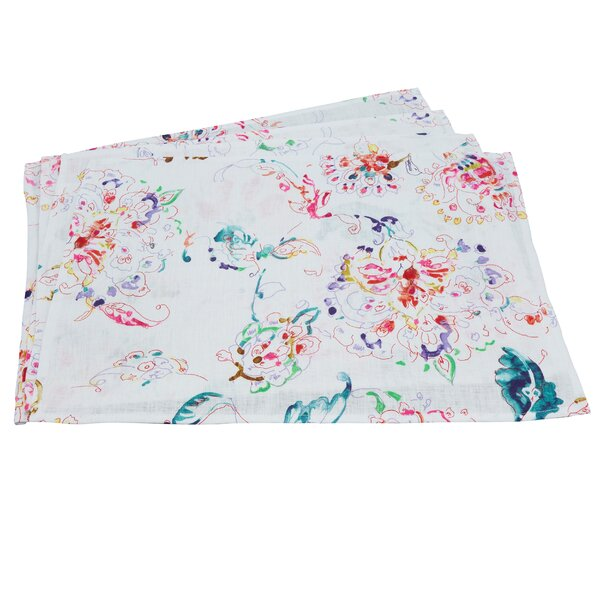 Perrie Printed Floral Linen Placemat (Set of 4) by Lark Manor