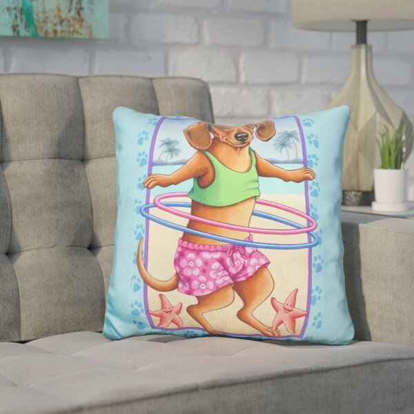 Coreopsis Dachshund Hula Hoop Throw Pillow by Wrought Studio