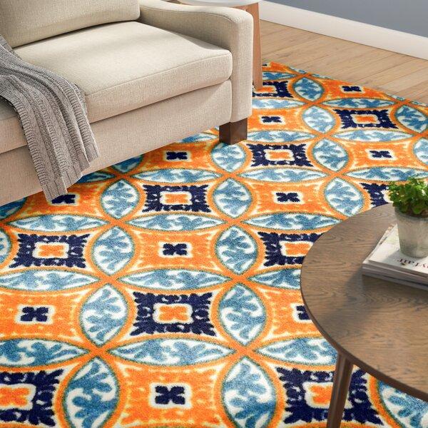Dorinda Orange/Blue Indoor/Outdoor Area Rug by Ebern Designs