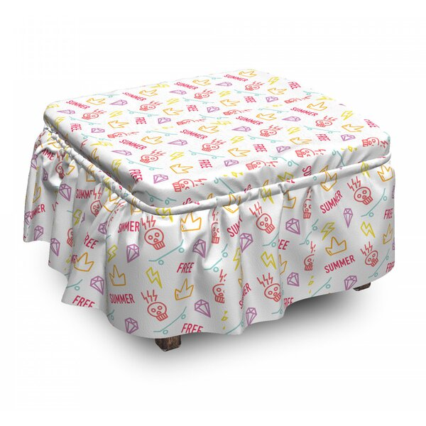 Hipster Old School Tattoo Ottoman Slipcover (Set Of 2) By East Urban Home