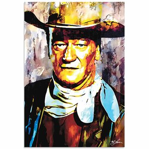'John Wayne Gallant Duke' by Mark Lewis Painting Print by Metal Art Studio