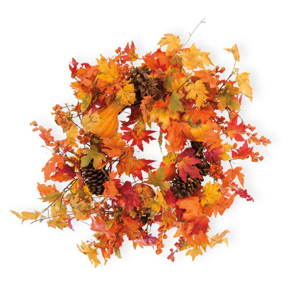 Maple Leaves Pumpkins 26 Plastic Wreath by The Holiday Aisle